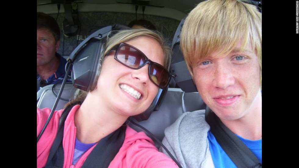 A cherished memory: Schwantner and her brother on a helicopter ride over Maui on a 2005 family vacation.
