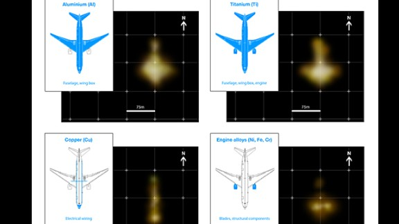 """A graphic from GeoResonance shows images depicting underwater """"anomalies"""" suggesting deposits of various metals in the approximate formation of a passenger airliner on the floor of the Bay of Bengal."""