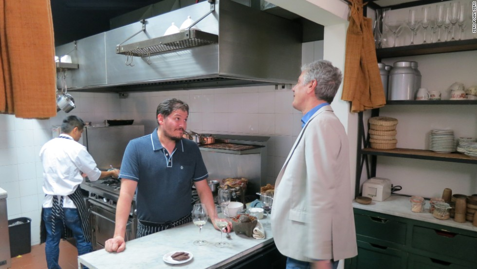 "In Mexico City, Bourdain meets up with migrant worker-turned-chef, Eduardo Garcia at his restaurant, Maximo Bistrot. In 2013, this restaurant made headlines after Andrea Benítez, the daughter of a Mexican official, sent inspectors to shut down the eatery because Garcia didn't give her the table that she wanted. ""You have to stand up for what you believe. If you don't, people will run you over. You won't last a minute. I don't let people bully me around,"" Garcia says. The official, Humberto Benitez Trevino, was fired after the incident."