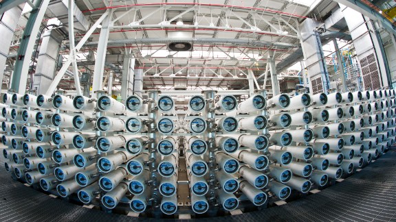 At the Groundwater Replenishment System plant treated wastewater goes through a three-step treatment process using microfiltration, reverse osmosis and UV light. Pictured, reverse osmosis membrane arrays.