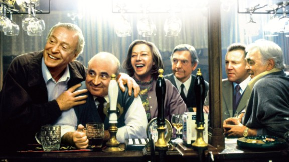 """In 2001's """"Last Orders,"""" the actor was part of a terrific cast -- from left, Michael Caine, Hoskins, Helen Mirren, Tom Courtenay, Ray Winstone and David Hemmings -- in a film about friends who gather to honor the last wishes of Caine's character."""
