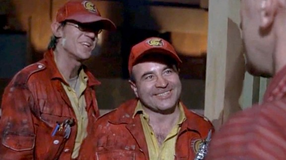 """In 1985's """"Brazil,"""" Hoskins, here with Derrick O'Connor, left, plays a repairman from the bureaucratic and dysfunctional Central Services who's sent to fix a ventilation system."""