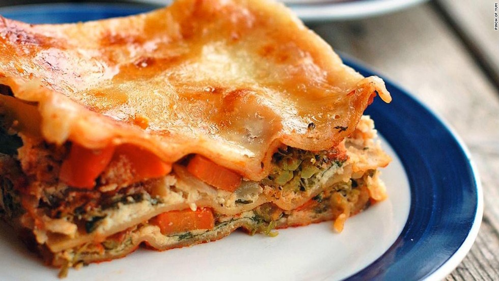 Your favorite chopped veggies take center stage in this lasagna recipe, along with whole-grain lasagna noodles and ricotta cheese.