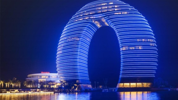 A horseshoe may be seen as lucky for some and comedic fodder for others. The $1.5 billion Sheraton in Huzhou, Zhejiang province is famed for its unusual design.