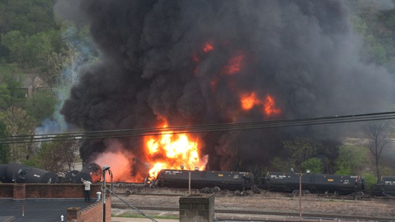 Smoke rising after the crash.