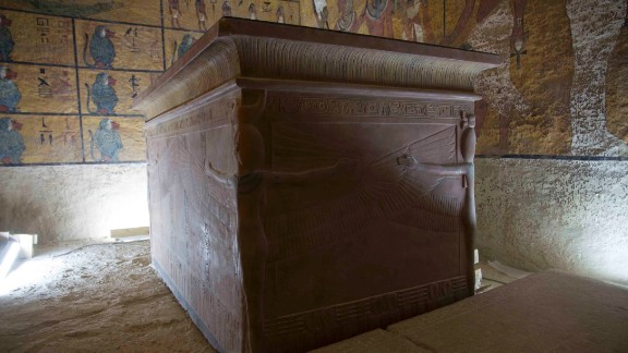 Tutankhamun's remains were placed in a climate-controlled glass case inside the original tomb in 2007 to prevent further decomposition.