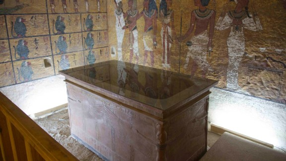 The interior of the facsimile of the tomb taken from the viewing gallery; the interior is reflected in the glass cover on top of the sarcophagus.