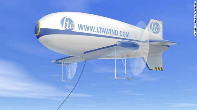 Canada's LTA Windpower has designed a hydrogen-filled, winged-blimp called the PowerShip.
