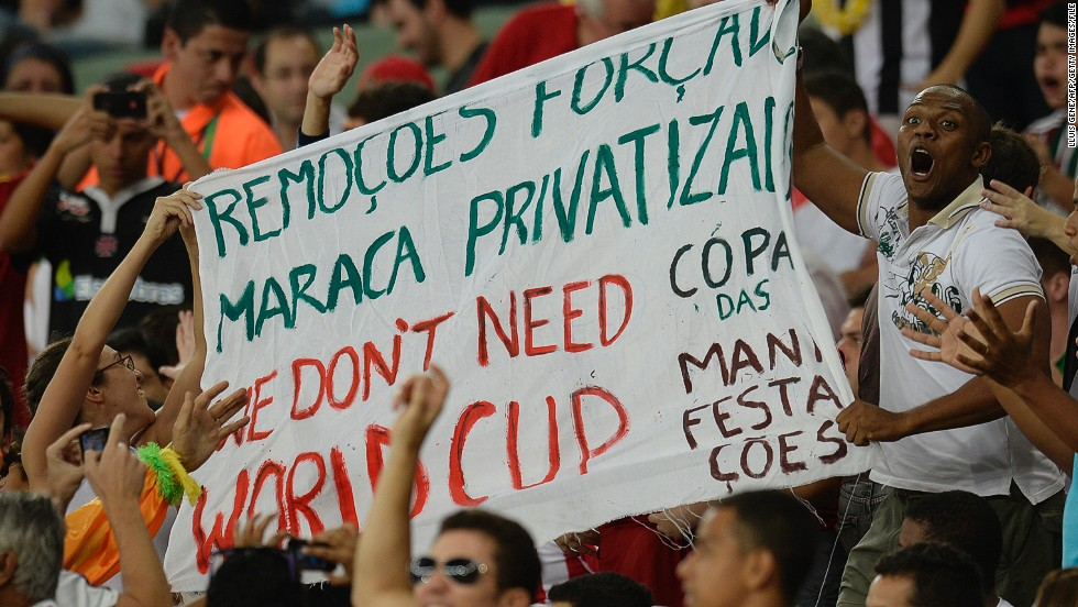 Demonstrations against the high cost of the World Cup took place around Brazil leading up to the event, such as this small but animated protest inside Maracana Stadium during a 2013 Confederations Cup match.