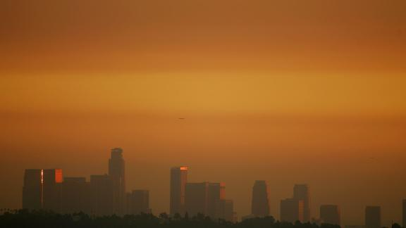 Los Angeles, California, seen through smog before sunset.