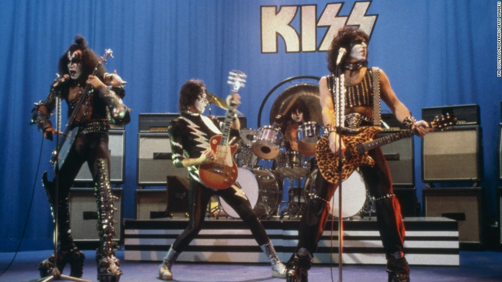 Kiss performs on stage, circa 1981. Peter Criss, the band's original drummer, was replaced by Eric Carr in 1980. From left, Gene Simmons, Ace Frehley, Eric Carr and Paul Stanley.