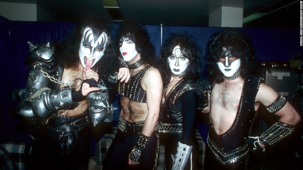 Lead guitarist Ace Frehley left the band in 1982 and was replaced by Vinnie Vincent. The new lineup -- from left, Simmons, Stanley, Vincent and Carr -- pose here in 1983.