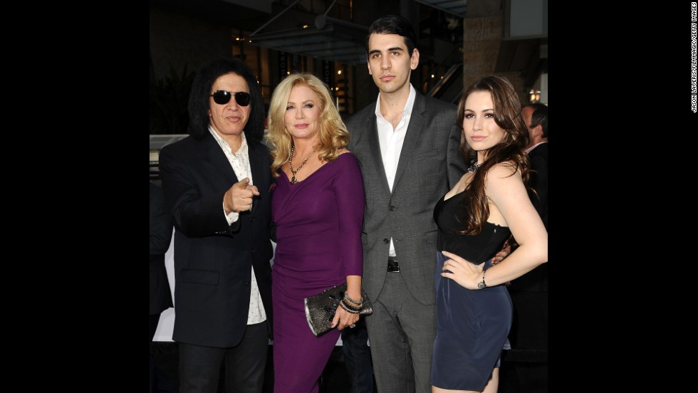 "Simmons' reality show, ""Gene Simmons Family Jewels,"" ran for seven seasons, from 2006 to 2012. The A&E show followed the adventures of Simmons and his family, including wife. Here, left to right, Simmons, wife Shannon Tweed, son Nick and daughter Sophie attend the premiere of ""Oblivion"" in 2013."