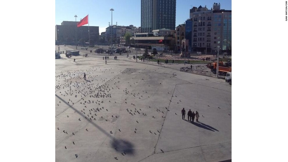 """Taksim Square is almost deserted, with the exception of police and barriers,"" he says. ""The police block civilians from entry."""