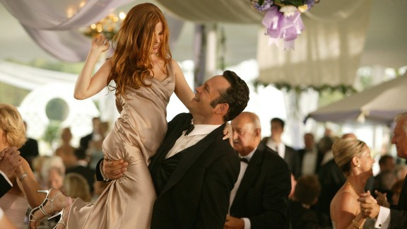 """Everyone loves a good wedding movie -- especially when the guests are behaving terribly. Here are a few of our favorite faux pas from films. """"<strong>Wedding Crashers"""": </strong>Vince Vaughn and Owen Wilson make a habit of crashing strangers' weddings, feasting on the freebies and occasionally making, uh, friends with tipsy bridesmaids such as Isla Fisher, left, in this 2005 comedy."""