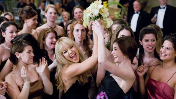 """<strong>""""Bride Wars"""":</strong> Sometimes the worst guest is your best friend. Kate Hudson, center left, and Anne Hathaway play battling Bridezillas whose weddings are inadvertently scheduled on the same day in this 2009 movie."""