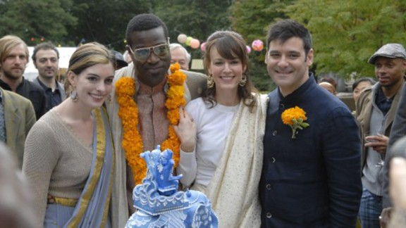 """<strong>""""Rachel Getting Married"""":</strong> A bride (Rosemarie DeWitt, second from right) has enough to worry about without wondering if her sister (Anne Hathaway, left), freshly released from rehab, is going to spoil the wedding day with her bad behavior in this 2008 film."""