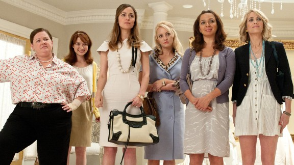 """<strong>""""Bridesmaids"""":</strong> In this 2011 comedy, maid of honor Annie (Kristin Wiig, far right) hits a rough patch right before the wedding of best friend Lillian (Maya Rudolph, second from right) and accidentally sabotages everything from the dress fitting to the bachelorette party. Her increasingly erratic behavior strains her friendship with the overwhelmed bride until she's fired from the wedding -- and her friendship."""