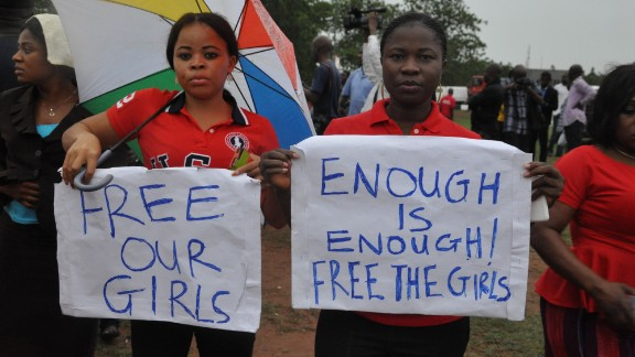 Women attend a demonstration calling on the government to rescue kidnapped schoolgirls of a government secondary school Chibok, in Abuja, Nigeria.