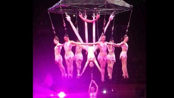 "Click to expand: The ""human chandelier"" is seen from an earlier performance on Friday, May 2."