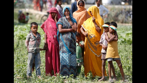 Women and children attend an election rally in Amethi, India, on Saturday, May 3.