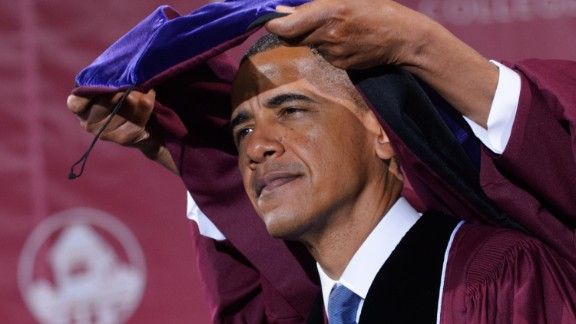 """President Barack Obama, who majored in political science, received an honorary degree at Morehouse College on May 19, 2013, in Atlanta, Georgia. In his commencement speech, Obama told the graduating class, """"Just as Morehouse has taught you to expect more of yourselves, inspire those who look up to you to expect more of themselves."""""""