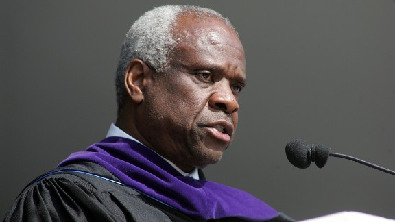 """Supreme Court Justice Clarence Thomas gave the commencement speech at High Point University on May 3, 2008. Thomas, who majored in English literature, said, """"Take a few minutes today to say thank you to anyone who helped you get here. Then try to live your lives as if you really appreciate their help and the good it has done in your lives. Earn the right to have been helped by the way you live your lives."""""""