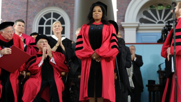 """Oprah Winfrey, who majored in speech and theater, delivered the commencement address at Harvard University on May 30, 2013. """"The key to life is to develop an internal moral, emotional GPS that can tell you which way to go,"""" she said."""