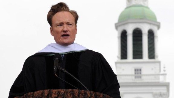 """Conan O'Brien delivered the commencement address at Dartmouth College on June 12, 2011. O'Brien, who studied English and history, told the students, """"Your path at 22 will not necessarily be your path at 32 or 42. One's dream is constantly evolving, rising and falling, changing course."""""""