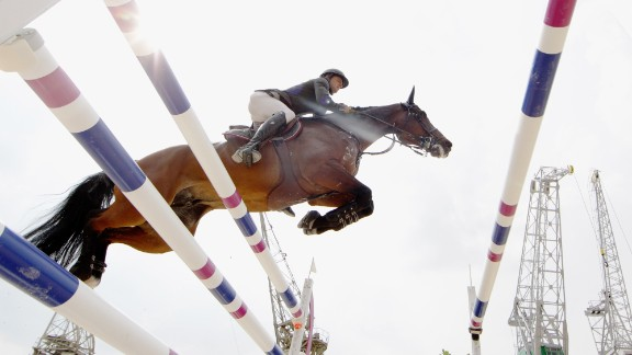 Frederic Vernaet of Belgium and his horse Voice de Longchamps compete at the Global Champions Tour of Antwerp in Belgium in April.
