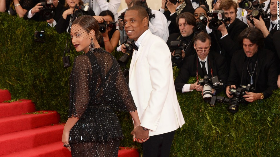 Jay Z and Beyonce arrive at the Metropolitan Museum of Art's Costume Institute Gala in New York on Monday, May 5. The high-fashion event raises money in support of the museum's costume institute, which was recently renovated. This year's Met Gala, also called the Met Ball, celebrates the late fashion designer Charles James.