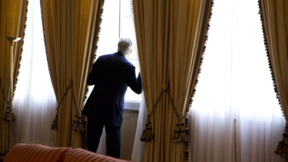Kerry looks out a window moments before meeting with Algerian President Abdelaziz Bouteflika in Zeralda, Algeria, in April 2014.