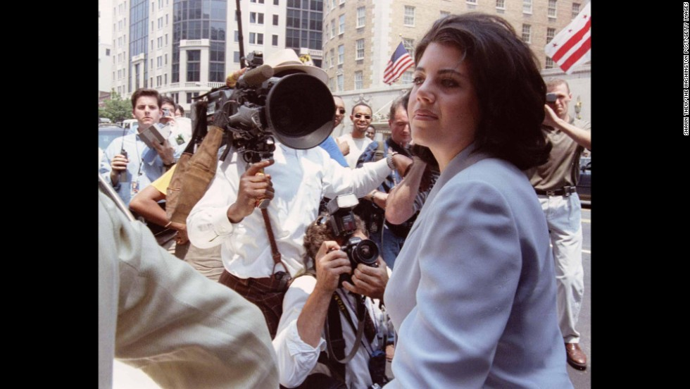 In 1998, Lewinsky arrives at her attorney's office in Washington, where her immunity agreement with independent counsel Kenneth Starr was announced.