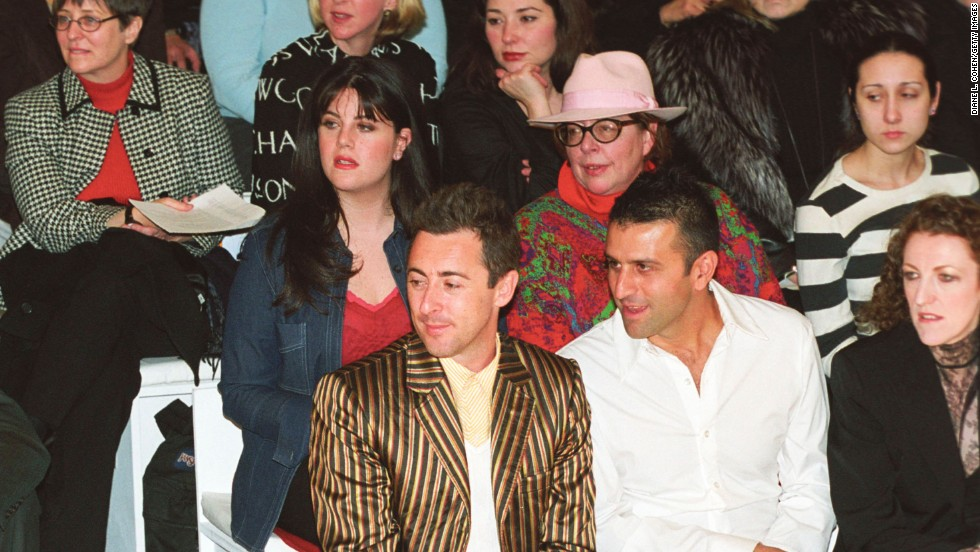 Lewinsky watches a collection presentation during the 2002 Mercedes-Benz Fashion Week in New York City.