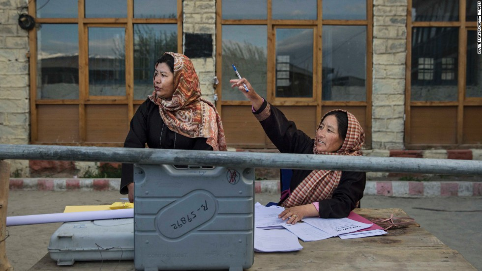 Election workers in Leh check voting machines on Tuesday, May 6.