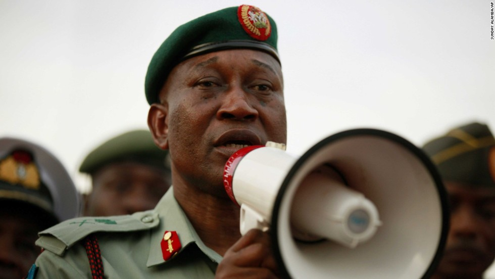 Brig. Gen. Chris Olukolade, Nigeria's top military spokesman, speaks to people at a demonstration May 6 in Abuja.