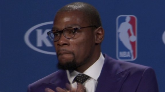 """In a speech that touched the hearts of millions, an emotional Kevin Durant of the Oklahoma City Thunder thanked his mother after he was named the NBA's MVP in May. """"You're the real MVP,"""" he told her."""