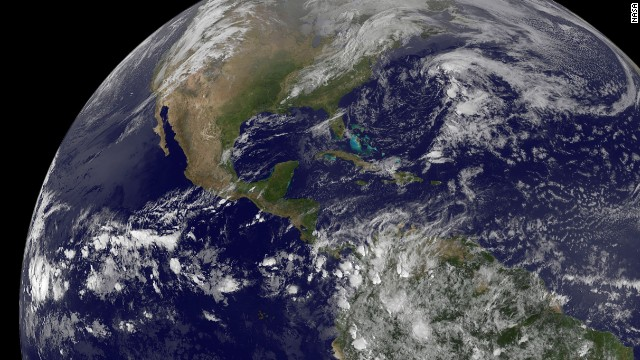 A NOAA satellite captured this view of the Americas on Earth Day, April 22, 2014.