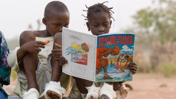 Guinea worm disease infected millions of people just 30 years ago. Now, it is close to eradication. The Carter Center has led efforts to fight the disease, helping educate people on how to avoid spreading the worm.
