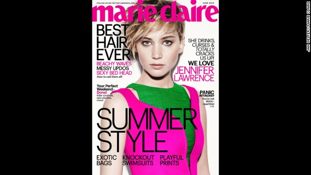 The June issue of Marie Claire featuring Jennifer Lawrence will be available on newsstands May 20.