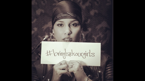 """American singer-songwriter Alicia Keys posted this photo on her Instagram account with this message: """"I'm so saddened and enraged that these girls are not back where they belong! Safe at home and at school! Safe with their families! Safe to become the incredible leaders and powerful voices they are yet to be."""""""