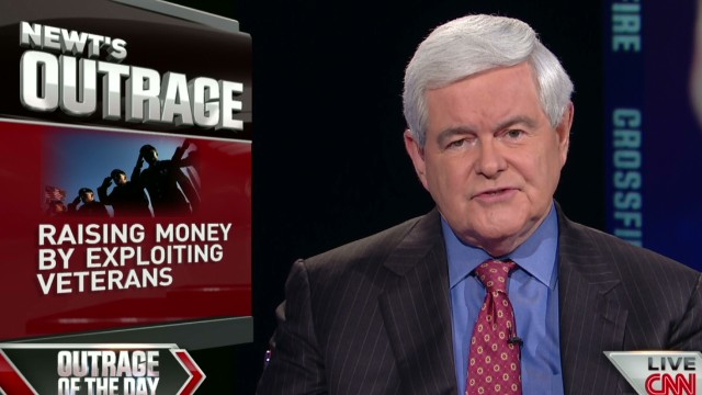 Gingrich outraged fundraising on Veteran deaths