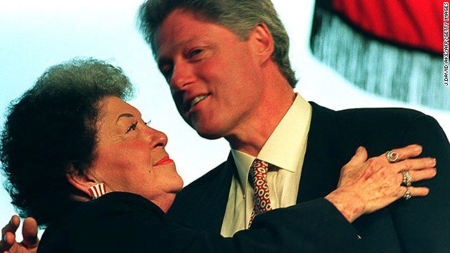 Bill Clinton gets a hug from his mother, Virginia Kelley, in 1993 before heading off to Washington for his first inauguration.