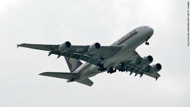[File photo] A Singapore Airlines Airbus A380 approaching for landing at Changi International Airport in Singapore on January 7, 2014.