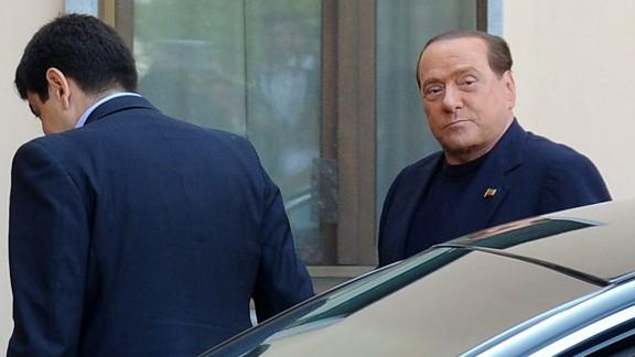 Silvio Berlusconi arrives at Fondazione Sacra Famiglia in Cesano Boscone on May 9, 2014 in Milan, Italy.