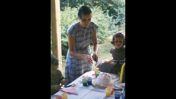"""Janis Brett Elspas with her mom in 1961 at an  """"old fashioned"""" backyard birthday party."""