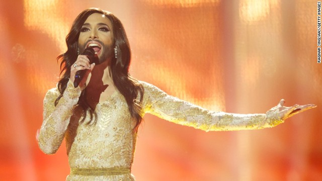 Austria's Conchita Wurst gives a winning performance in the grand final of the Eurovision Song Contest in Copenhagen.