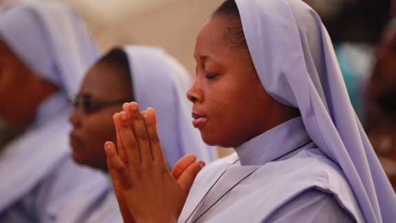 Catholics nuns pray in Abuja on May 11.