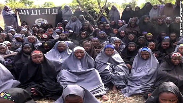 A screengrab taken in May from a Boko Haram video shows the schoolgirls in an undisclosed rural location.