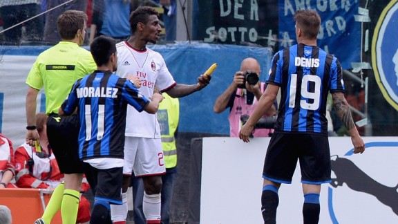 AC Milan defender Kevin Constant is enraged after a banana is thrown onto the pitch during his side's 2-1 defeat at Atalanta.